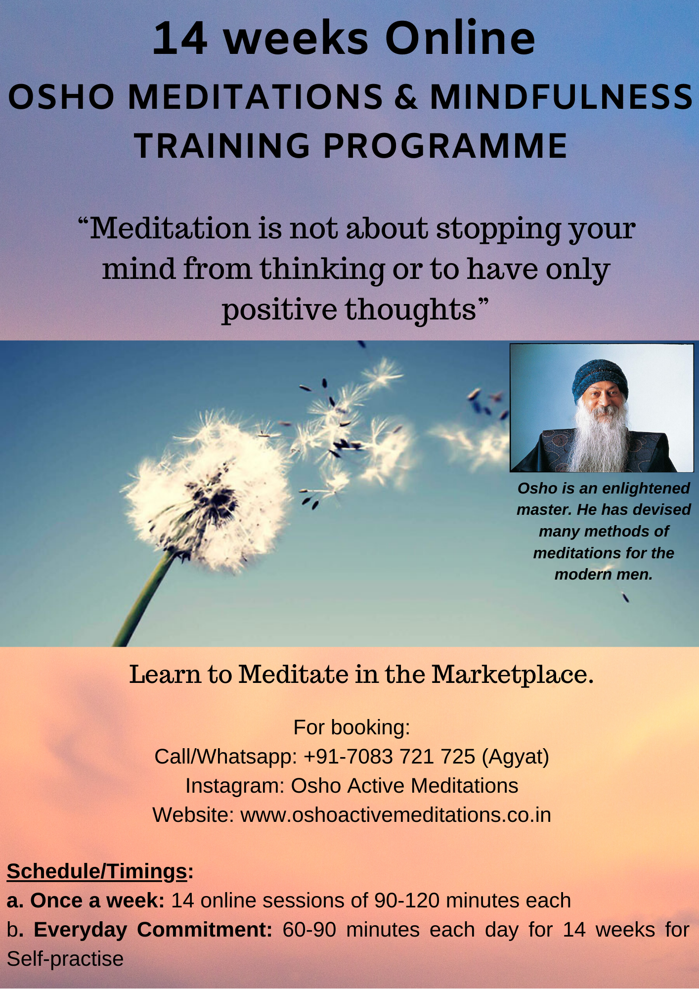 14 weeks online - Osho Meditations and Mindfulness Training Programme - Pic
