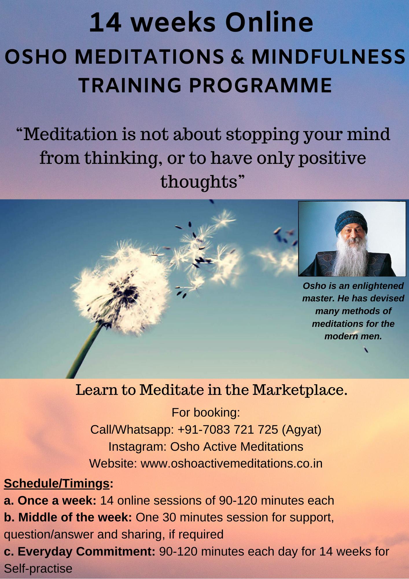 14 weeks online - Osho Meditations and Mindfulness Training Programme - Pic
