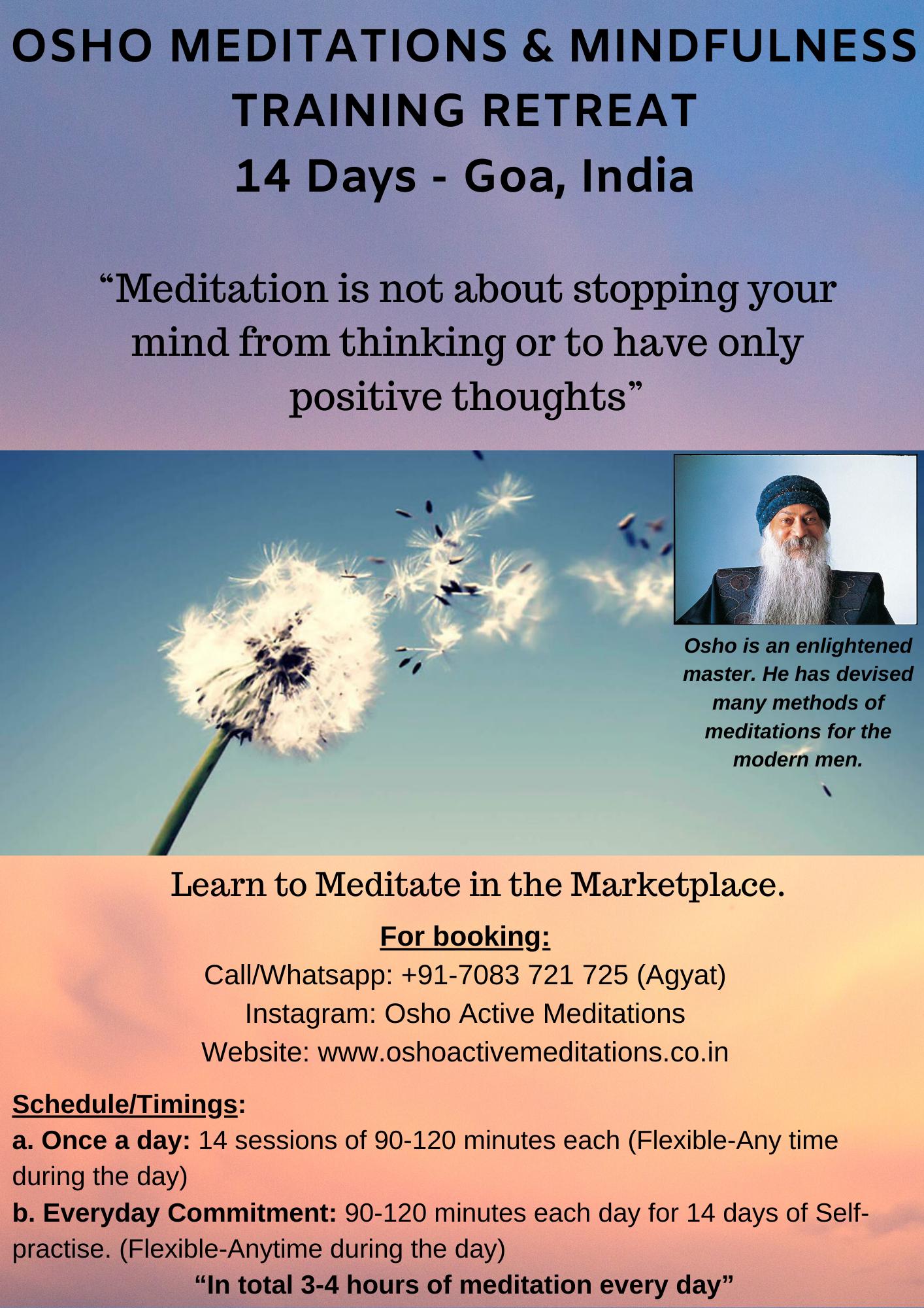 Osho Meditations and Mindfulness Training Retreat - 14 days, Goa, India - Pic 1