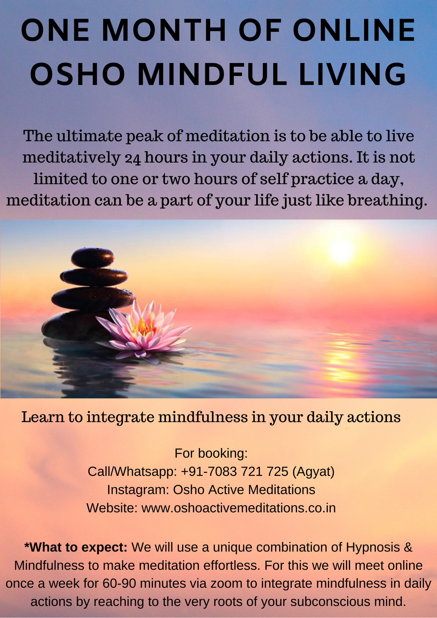 One Month of Online Osho Mindful Living